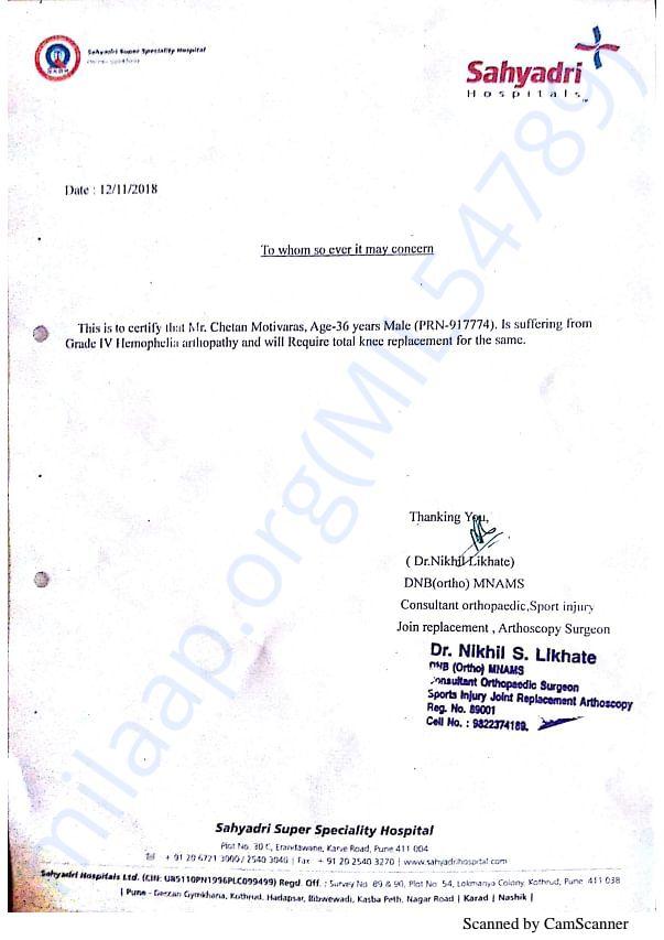 Dr. Nikhil Likhate - Orthopedic Surgen Certificate