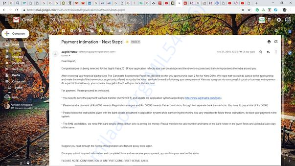 Jagriti yatra selection mail.