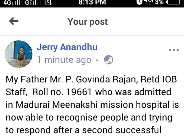 Save My Father Govindharajan