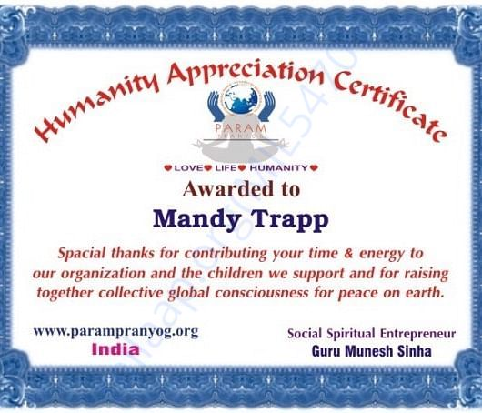 Certificate of humanity who works for us n give time
