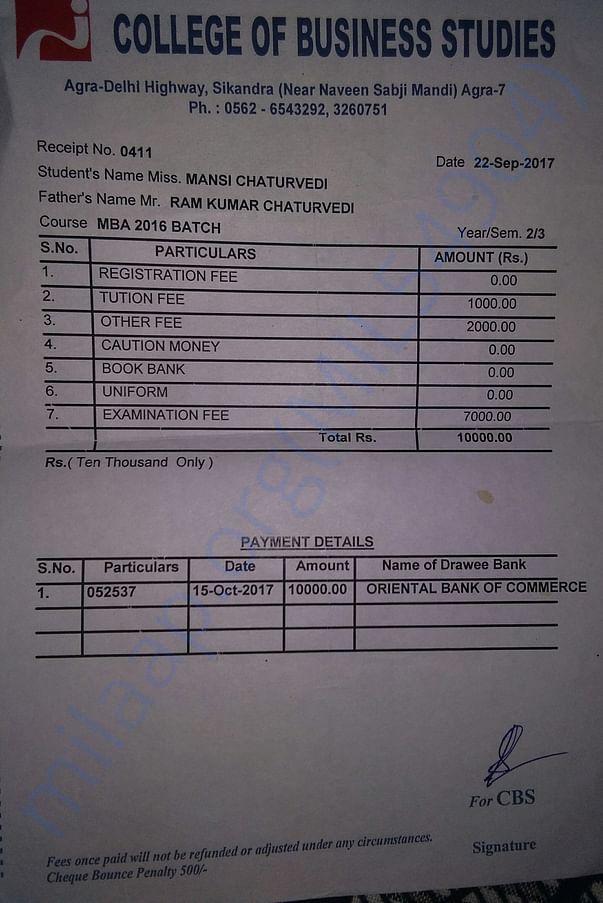 College fees recipts