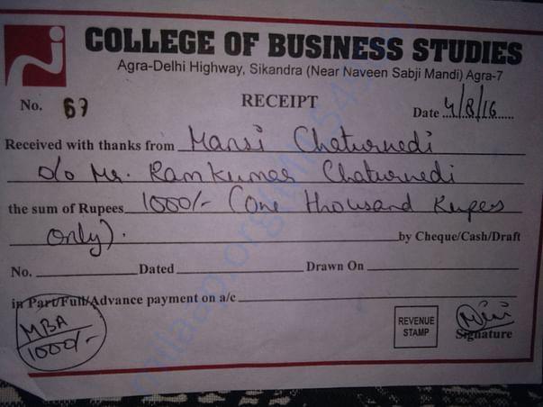 College fees receipt