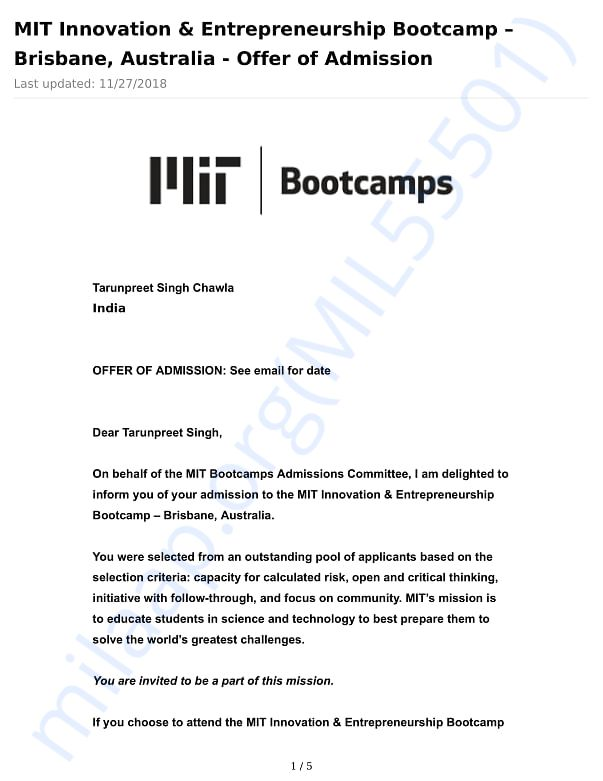 Acceptance Letter for the Bootcamp
