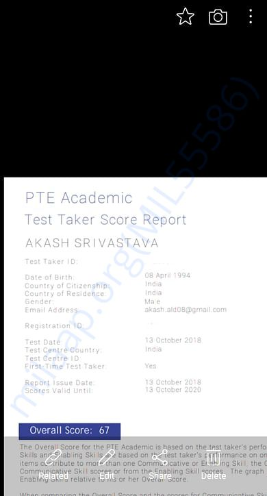 My English entrance result