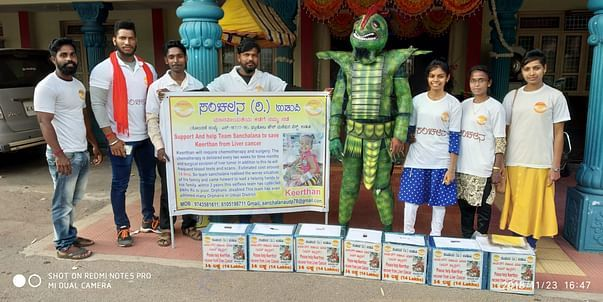 Team Sanchalana collecting donation for Shreethan by wearing Costume