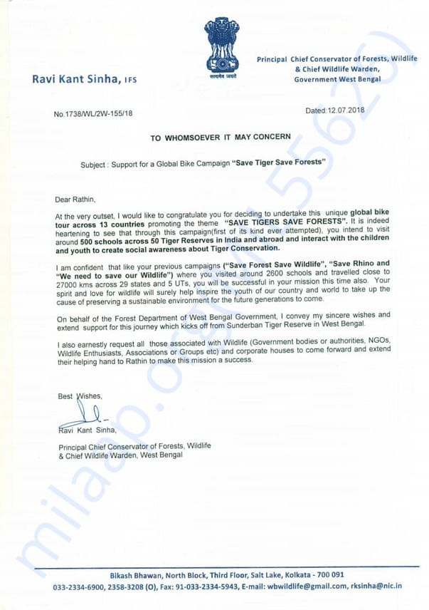 Support Letter from PCCF, West bengal