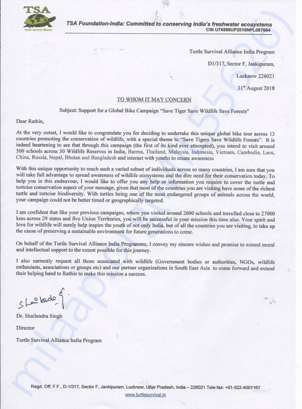 Support Letter from TSA India