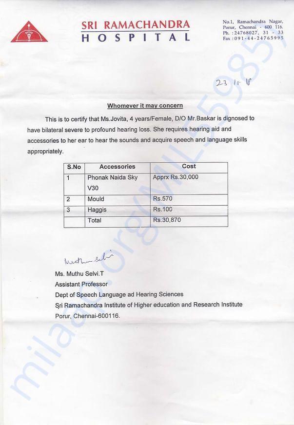 Estimation for hearing aid given by Sri Ramachandra hospital, Chennai