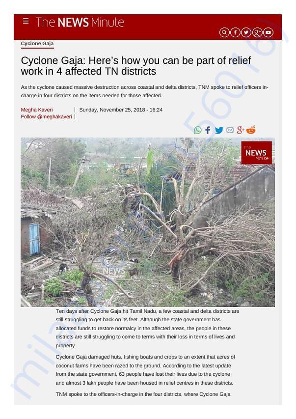 Reporting on Cyclone Gaja