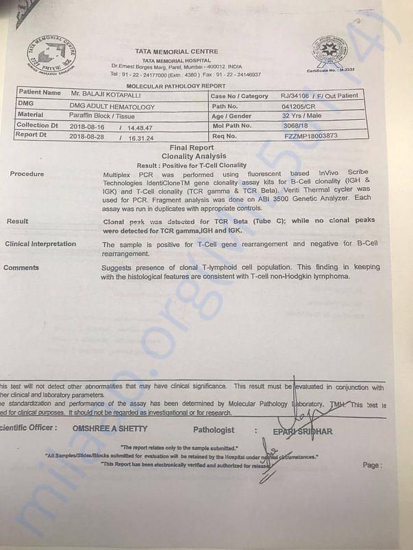 Report from Tata Memorial Hospital