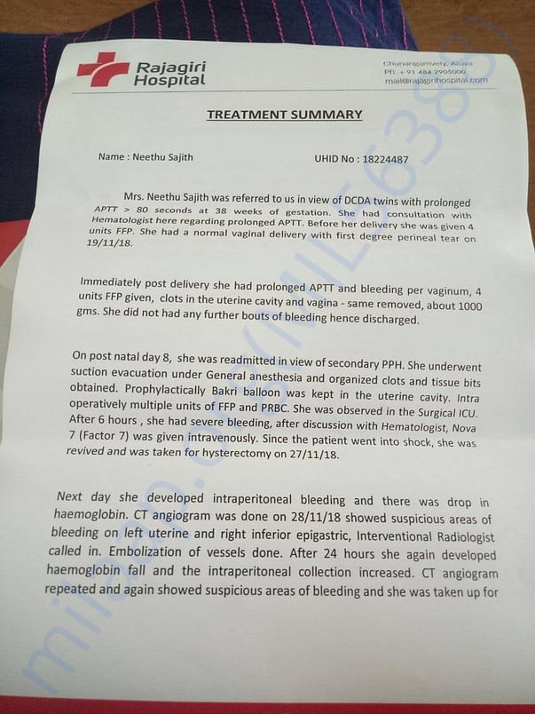 Below is a treatment summary letter provided by the hospital : Page1