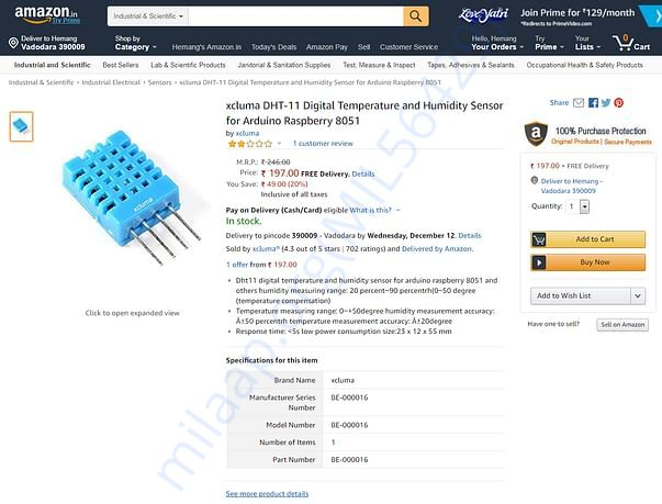 DHT-11 Temperature and Humidity Sensor