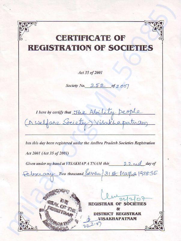Registration certificate of Organization