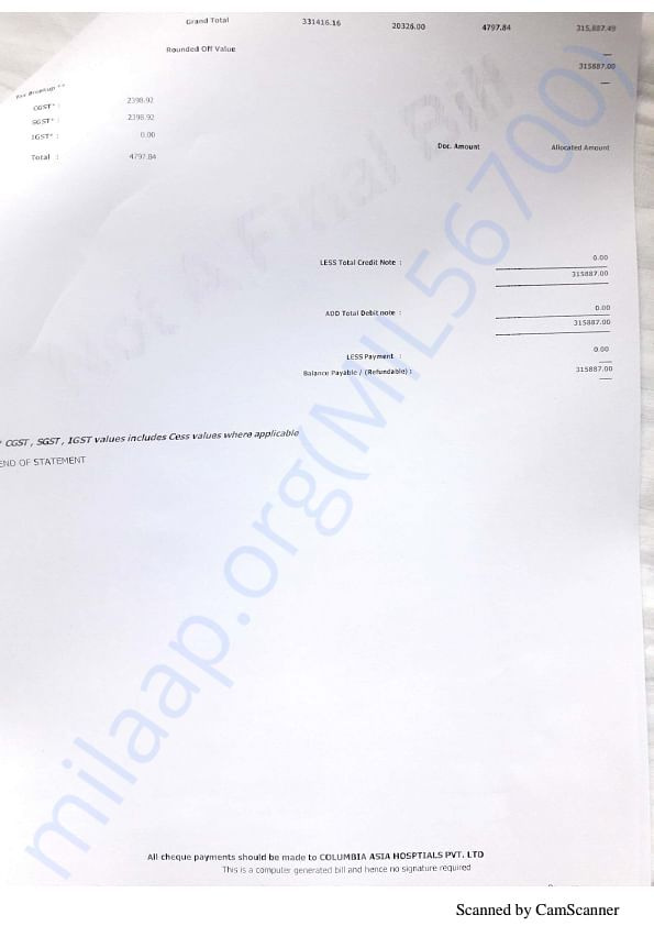 Hospital documents:
