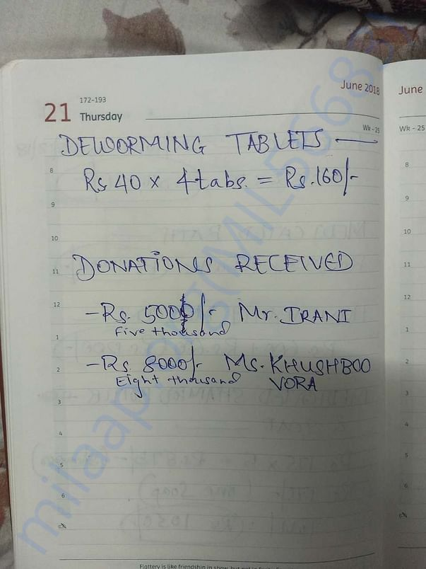 List of some of Gunda's expenses and donations recieved till now