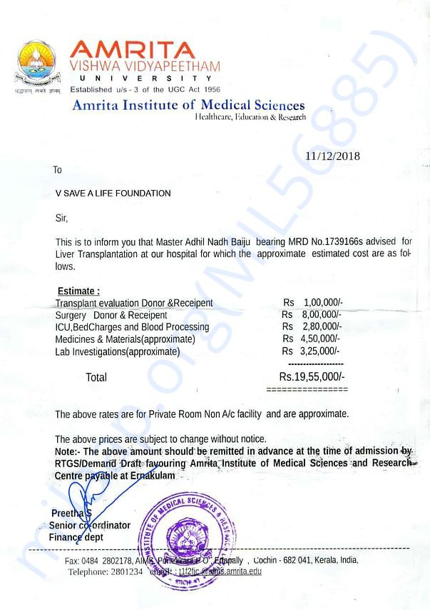 Medical and Cost Estimation Document