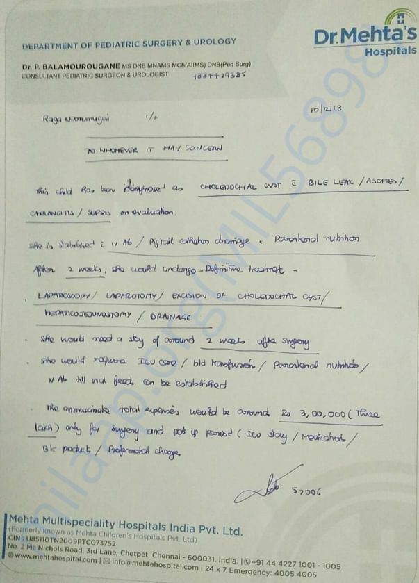 Only Surgery Estimation letter from our doctor