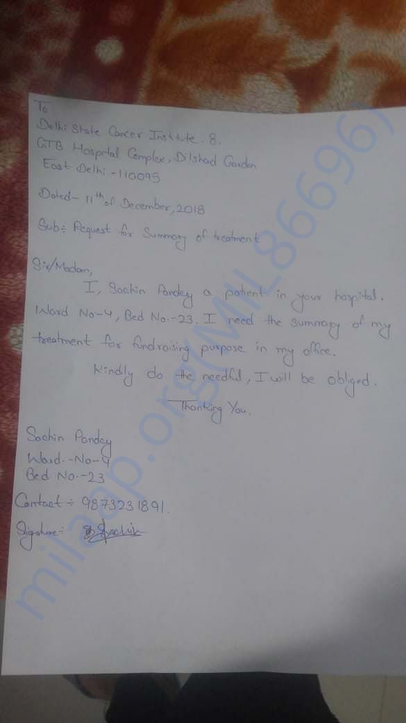 Requested application for the summary of Sachin's ongoing treatment.