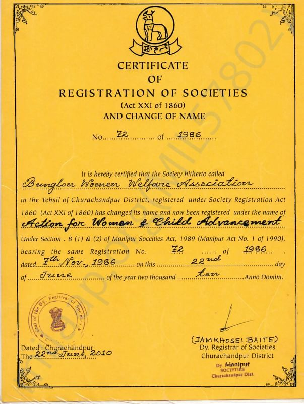 Registration certificate from Co operative society