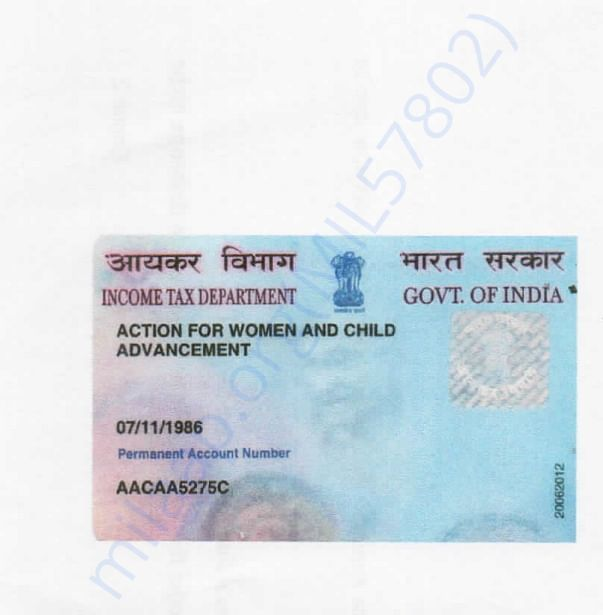 Pan card of our NGO