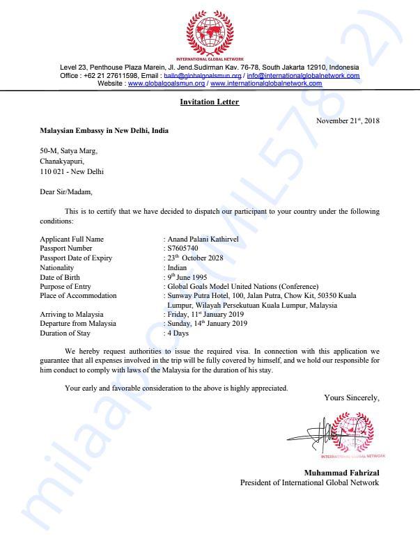 Letter of Invitation for Mr. Anand PK
