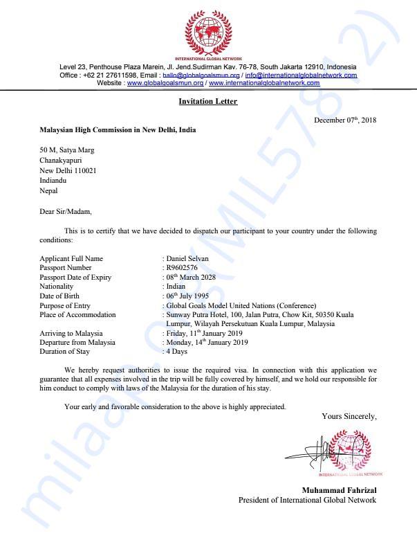 Letter of Invitation Mr.Daniel Selvan