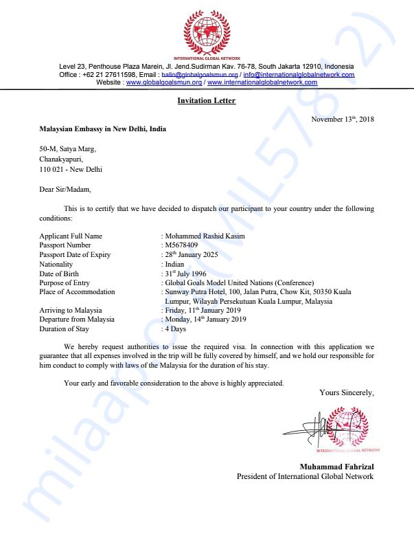 Invitation Letter of Mr. Rashid