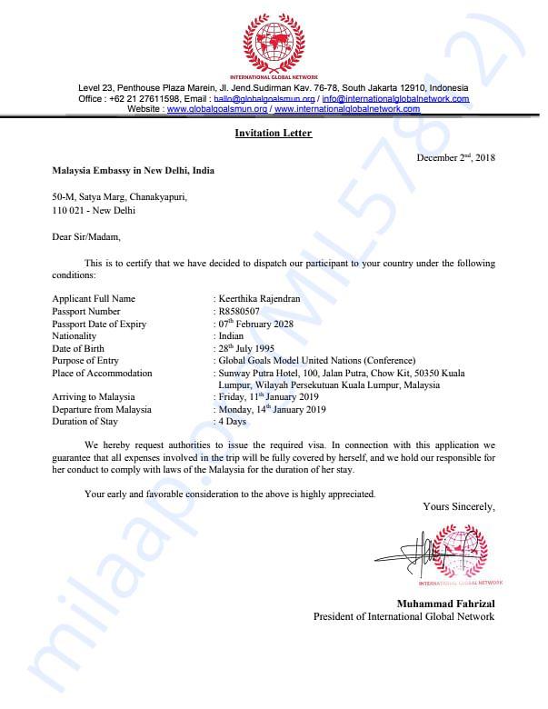 Invitation Letter of Ms.Keerthika Rajendran