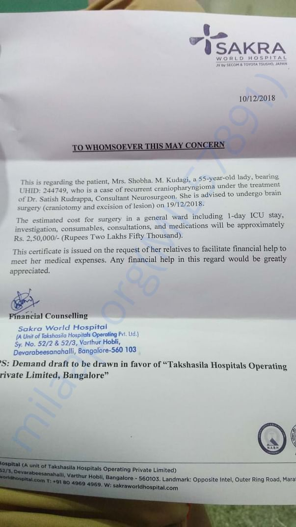 Hosptial document is attached
