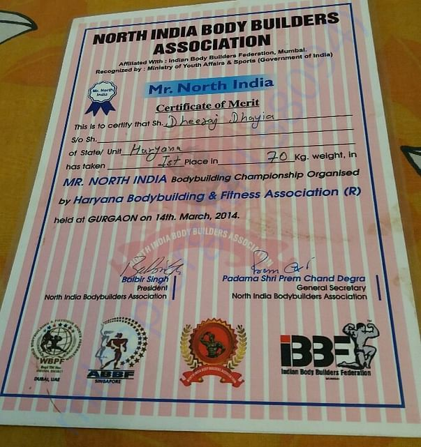1st Rank - Mr. North India -North India Body Builders Ass.-2014