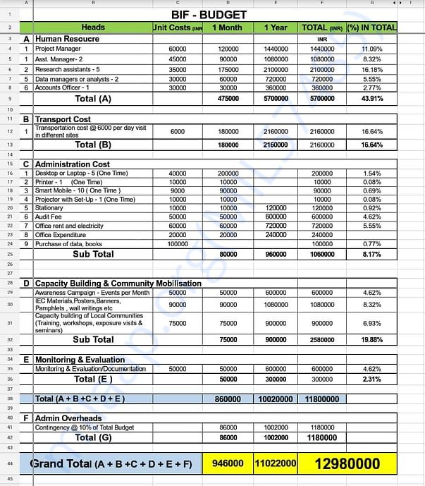 Budget estimate of the project