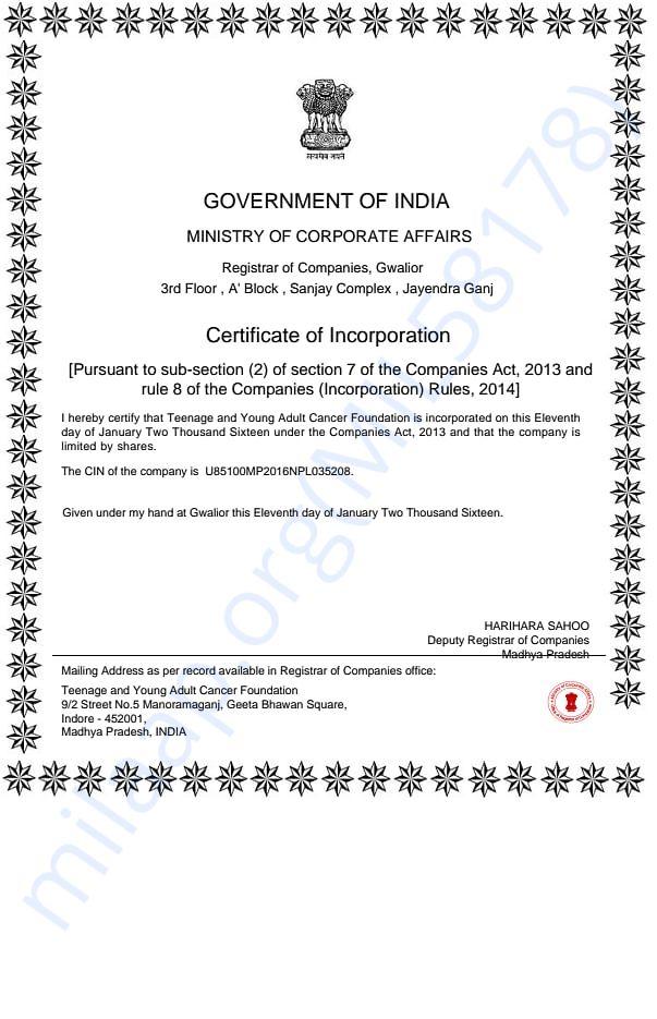Foundation Registration Certificate