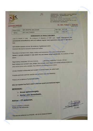 Swapnil maladkar medical report
