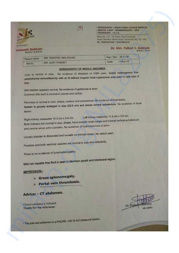 Swapnil maladkar medical report