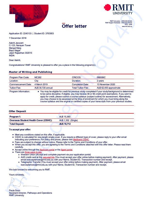 RMIT offer letter