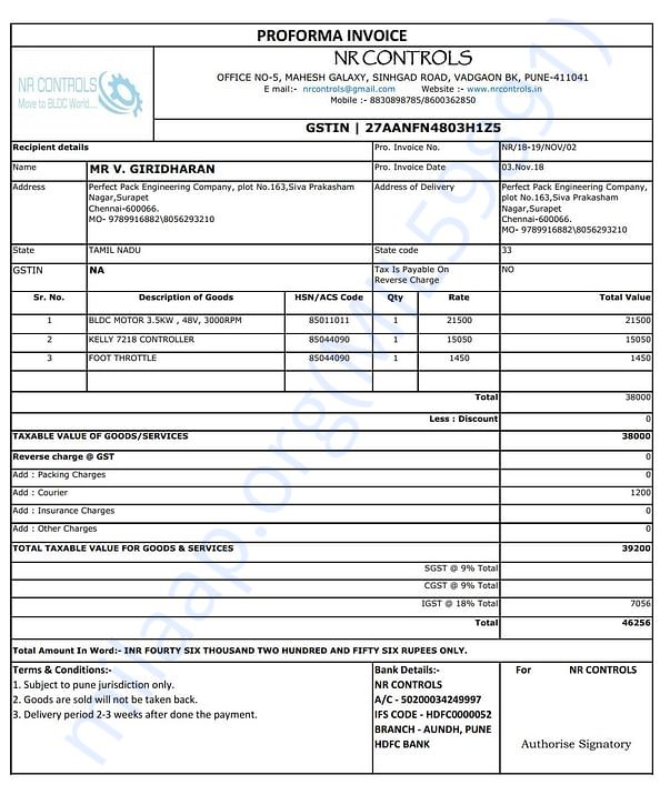 Invoice for motor and accessories