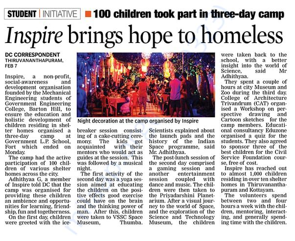 Inspire Camp 2018 Newspaper report, Deccan Chronicle