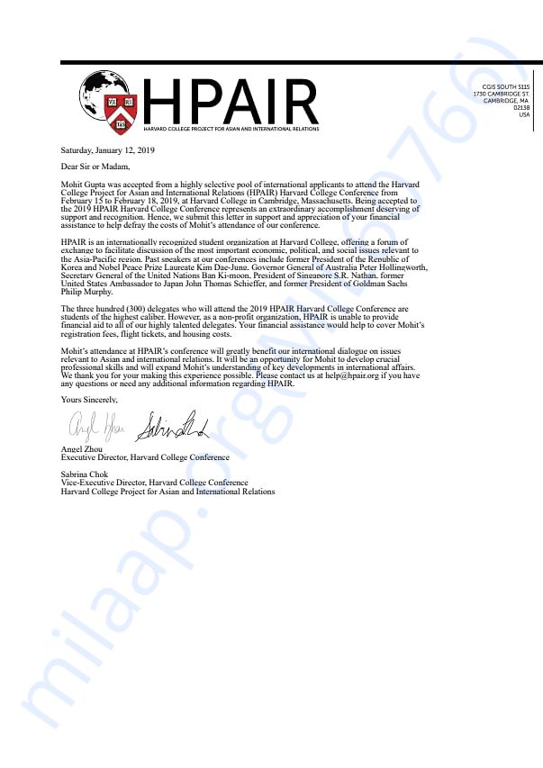 Financial Support Letter