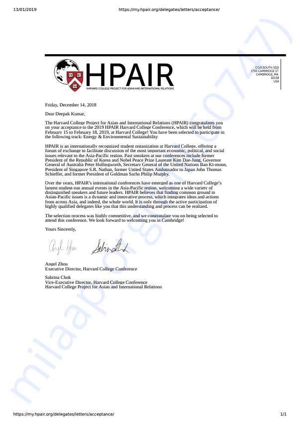HPAIR Acceptance Letter