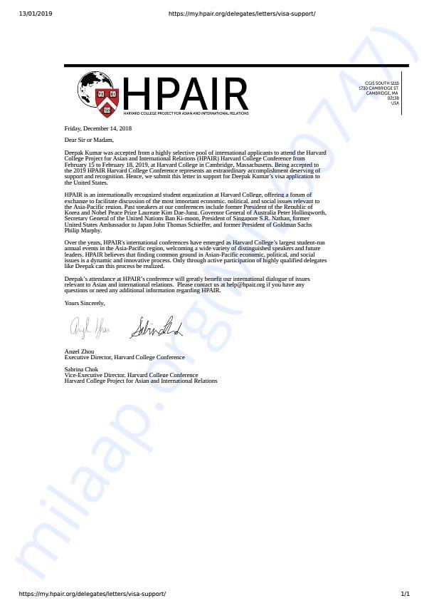 HPAIR VISA Letter