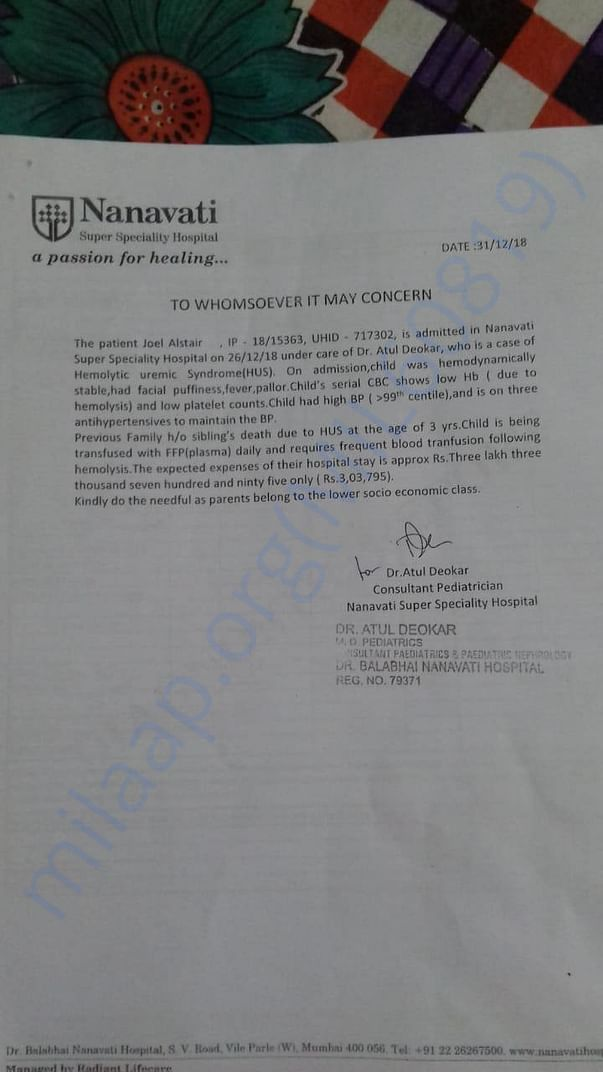 Letter from Nanavati Hospital