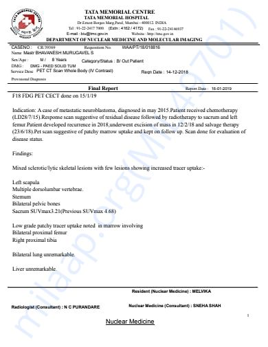 PET scan report 16 january 2019