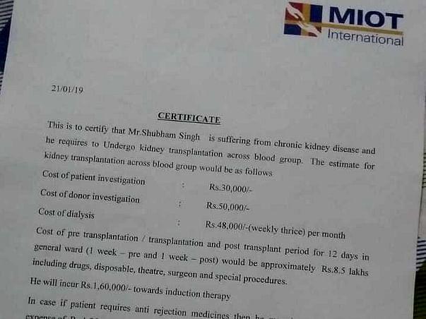 Help Shubham,19 year old for Kidney Transplantation