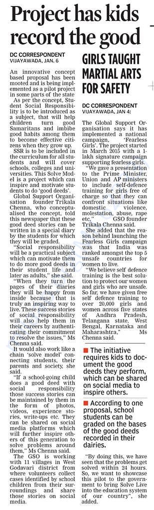 Article in Deccan Chronicle about our Fearless Girls Project