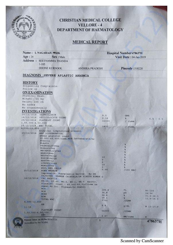 Hospital report regarding the diagnose