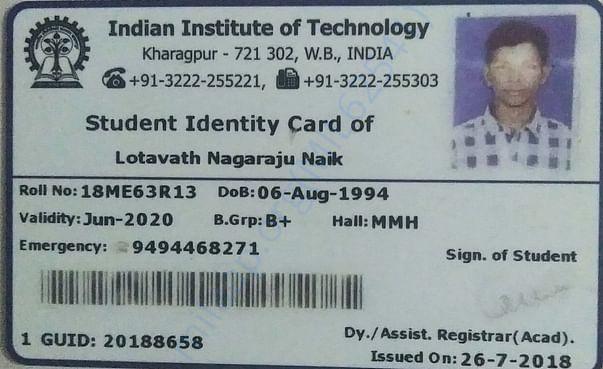 IIT Kharagpur Id card