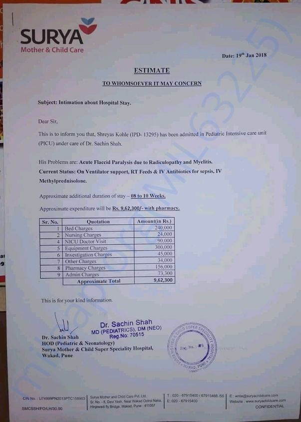 so,this is the estimation letter given by the concerned doctor