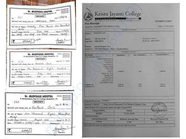 Hostel fee paid receipts