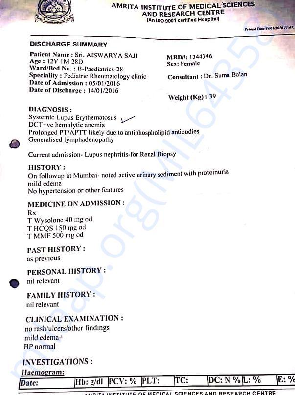 2016 Medical report