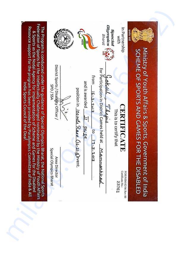 A few of Gokul's certificates